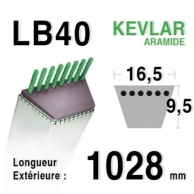 Courroie lb40 - 16,5 mm x 1028 mm