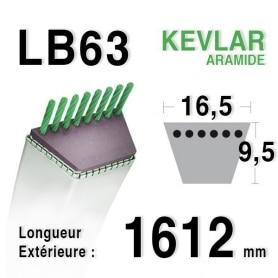 Courroie lb63 - 16,5 mm x 1612 mm