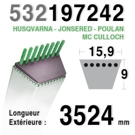 Courroie spécifique HUSQVARNA - JONSERED - MC CULLOCH - POULAN - 197242 - 532197242