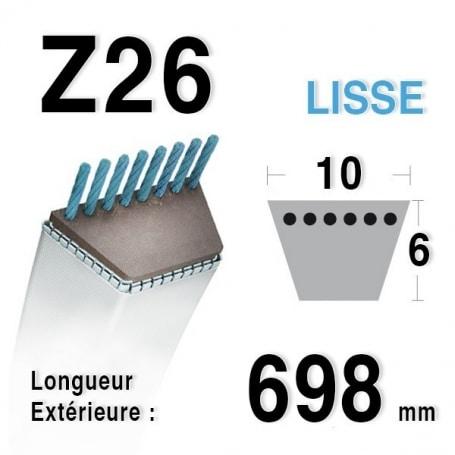 Courroie Z26 - 9,5 mm x 698 mm