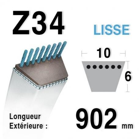 Courroie Z34 - 10 mm x 902 mm