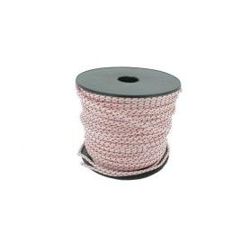 Corde lanceur polyamide blanche avec liseré rouge - Longueur 100 m - Diamètre 6 mm