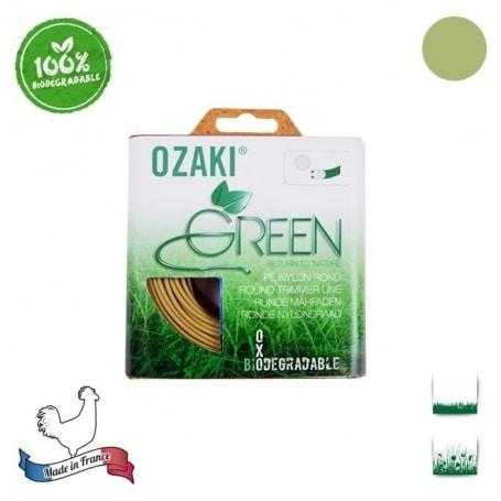 Coque fil nylon oxo-biodégradable OZAKI green rond - 1,30 mm x 15m - qualité professionnelle - fabrication française