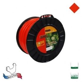Bobine fil nylon carré OZAKI premium - 3 mm x 132m - qualité professionnelle - fabrication française