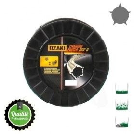 Bobine fil nylon pentagonal bi-composant OZAKI titanium power - 3 mm x 186m - qualité professionnelle