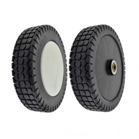 Roue plastique sur roulement plastique CASTELGARDEN - diamètre extérieur 200mm - alésage 11,65mm - Livrée avec enjoliveur
