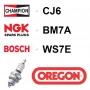 Bougie OREGON - CHAMPION cj6 NGK bm7a BOSCH ws7e