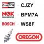 Bougie OREGON - CHAMPION cj7y NGK bpm7a BOSCH ws8f