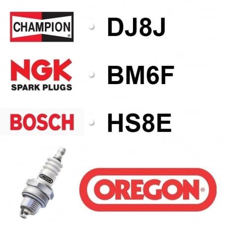 Bougie OREGON - CHAMPION dj8j NGK bm6f BOSCH hs8e