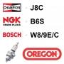 Bougie OREGON - CHAMPION j8c NGK b6s BOSCH w8/9e/c
