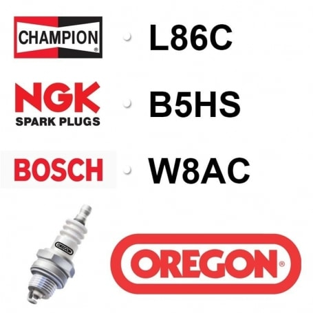 Bougie OREGON - CHAMPION l86c NGK b5hs BOSCH w8ac