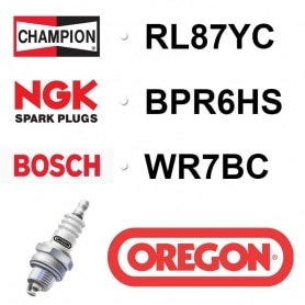 Bougie OREGON - CHAMPION rl87yc NGK bpr6hs BOSCH wr7bc