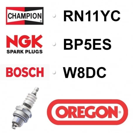 Bougie OREGON - CHAMPION rn11yc NGK bp5es - bpr5es BOSCH w8dc