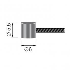 Câble souple à embout tonneau 6mm x 5,5 mm
