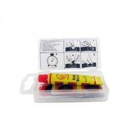 Kit réparation chambre à air SHAK avec 4 rustines diamètre 20 mm et 1 rustine 45x25 mm + colle et abrasif