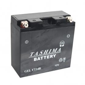 Batterie YT14BBS + à gauche (livrée avec électrolyte)