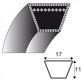 Courroie B53 - Trapézoidale 17 mm x 1419 mm - KARSIT 492063 LAWN BOY - 492063 - 647272731192