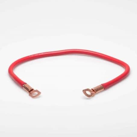 Fil de masse rouge avec cosses - 30 cm