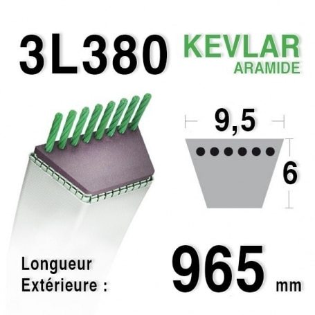 Courroie 3l38 - 9,5 mm x 965 mm