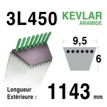Courroie 3l45 - 9,5 mm x 1143 mm