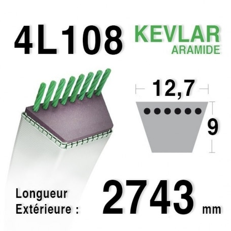 Courroie 4L1080 - 4L108 AMF - NOMA - DYNAMARK 33125 - 301935 - 46466 - 49330