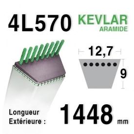 Courroie 4L570 - 4L57 MTD 754124 - 90-47-308 JOHN DEERE m43489 - m47770 STAUB 519003581 - 30121
