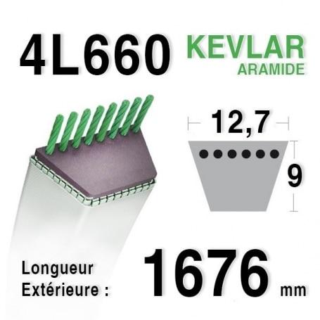 Courroie 4L660 - 4L66 BOLENS 1738511 STIGA 1134-9164-01 RANSOMES - BOBCAT a421660 JOHN DEERE m82462 - m82460