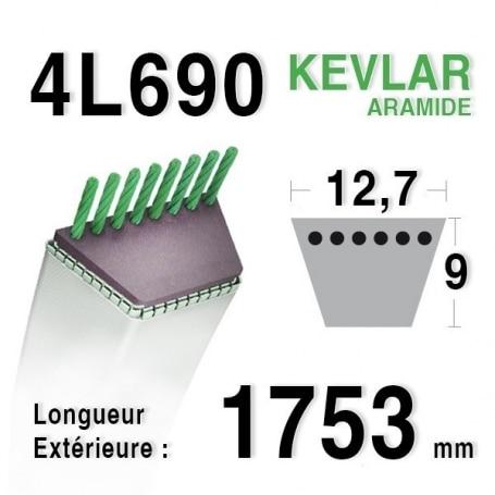 Courroie 4L690 - 4L69 AYP - ROPER 106412 x WHEEL HORSE 107647 RANSOMES - BOBCAT a421740
