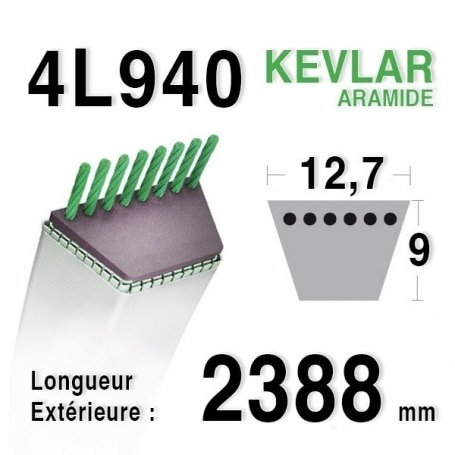 Courroie 4L940 - 4L94 HUSQVARNA 532180215 - 532144959 AYP 180215 - 373794 d3 ra