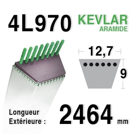 Courroie 4L970 - 4L97 MURRAY 37x87 CASTELGARDEN - GGP 135062003/0 MTD 7540478