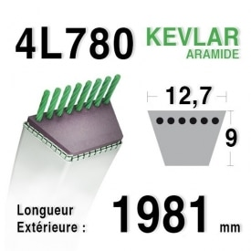 Courroie 4L780 - 4L78 HUSQVARNA 532131264 - 531005026 AYP 131264 SIMPLICITY 108508 -1713515 COUNTAX 22919900