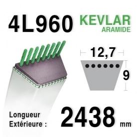 Courroie 4L960 - 4L96 HUSQVARNA 532180260 CASTELGARDEN 35061980/0 MTD 75404060 JOHN DEERE m125218 GILSON 210692