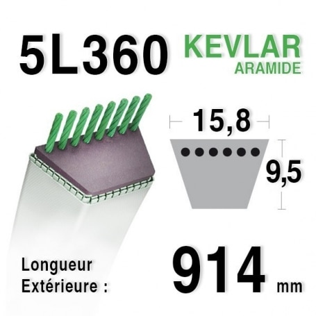 Courroie 5L360 - 5L36 MTD 754-0453 - 954-0453 - 754-0199 JOHN DEERE m42226 AYP 62411