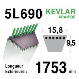 Courroie 5L690 MTD 7540329 - 7540433 - 7540145 - 90-47-665 - 954-04001 AMF - NOMA 42111 - 43066 ARIENS 72052