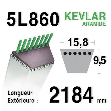 Courroie 5L860 - 5L86 - ALKO P138314108 KEES 323030 NOMA 314108 RANSOMES BAA0068 SCAG 48207 TORO 13-2640