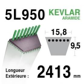 Courroie 5L950 - 5L95 MTD 75404075 - 7540632 KUBOTA 7650034710 AYP - HUSQVARNA 180260 - 532180260