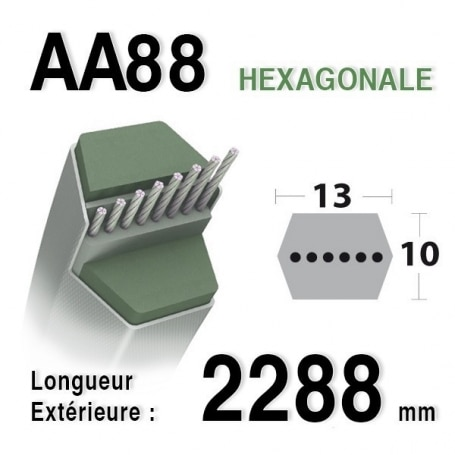 Courroie aa88 MTD 754-0443 - 754-0443a - 954-0443