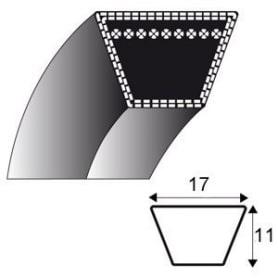 Courroie b75 - trapézoidale 17 mm x 1969 mm